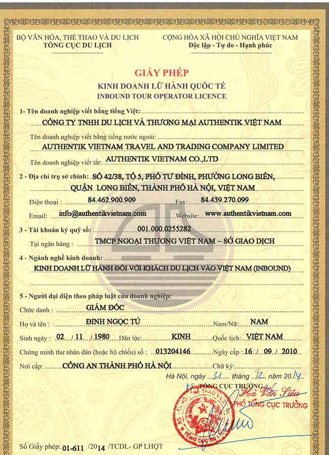 Legal license Izitour